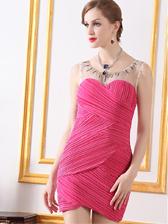 New Arrival Hot Sale Fair Lady Gauze Spliced Beading Round Collar Sleeveless Dress
