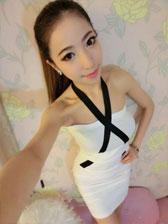Hot Items Sexy Girl Halter Strapless Color Block Off Shoulder Night Club Slim Dress