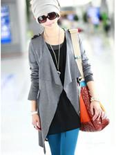 2014 Top Popular Style Solid Color Pocket Zipper Ruffles Shoulder Board Coat