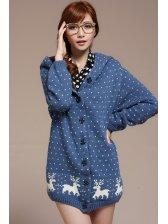 Popular Promotional Wholesale Single-Breasted Deer Polka Dots Hooded Coat