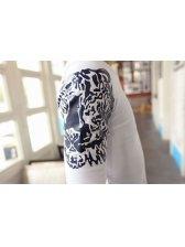 Fashion Europe Men Union Jack Flag Tiger Head Print Versatile T-Shirt