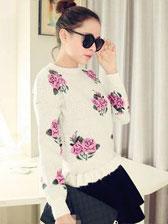 Hot Selling Round Collar Rose Patterns Ruffles Hem Lady Short Sweaters