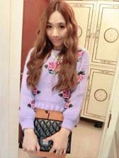 Princess Style Ruffles Round Collar Flower Printings Slim Girls Fresh Pullover