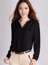Korea Newest Lady Beaded V Collar Fake Pockets Loose Chiffon Blouses