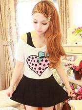 Wholesale Women's Fashion love dots Printing Bat Sleeve T-shirts