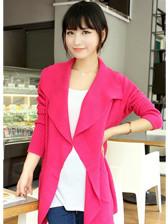 Spring Newest Lady Plain Color No Button Pockets Big Lapel MD-Long Cardigans