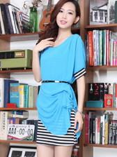 Fashion Europe Fitted Asymmetrical Plicated Belt Plaid Chiffon Women Dress