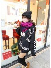 Korean Stylish Doodle Skulls Number Letter Printed Round Neck Long Sleeve Pullover Hoodies