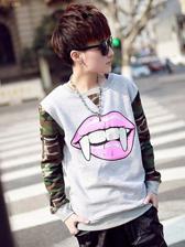 European Fashion Camouflage Tooth Lip Prints Round Collar Men Hoodies