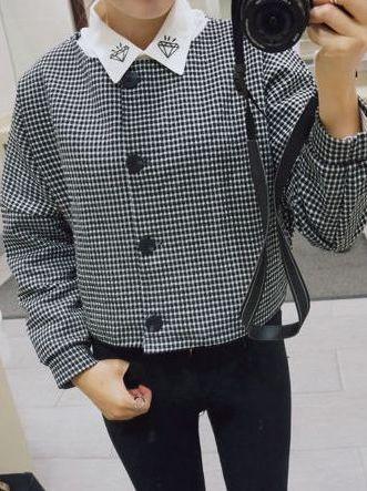 Harajuku Preppy Style Plaid Single Breasted Long Sleeve Great Sale Short Coats
