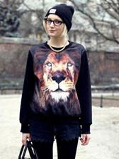 Hot Europe 3D Lion Head Graphic Fashion Long Sleeve Loose Women Hoodies