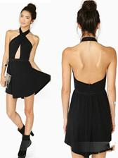 Popular Trendy Sexy Splice Front Hole Waited Backless Slim Halter Dress