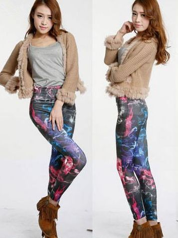 Unique Style Tie-Dyed Color Block High Waist  Skinny 2014 Newest Fashion Promotion Leggings