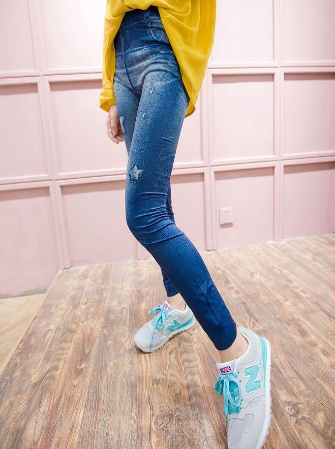 Hot Korean Style Star Pattern Faux Denim High Waist Skinny Newest Arrivals Leggings