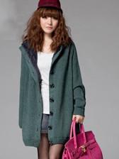 Korea Leisure Women Hooded With Velvet Single-Breasted Long Sweater Coats