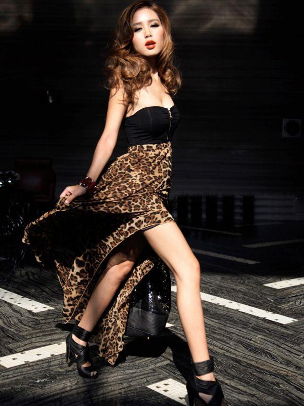 Club Wear Sexy Strapless Leopard Chiffon Spliced Irregular Layered Backless Tube Dress