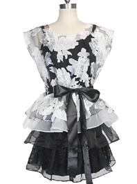 2014 Wholesale Spring Sexy Embossing Flower Ruffles Sleeveless Black Dress