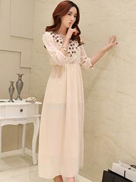 Noble Temperament Lady Chiffon Flower Design High Slim Waist Maxi Dress