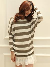 Korea Trendy Stripe Color Block Lace Patch Work Batwing Sleeve Two Piece Dress