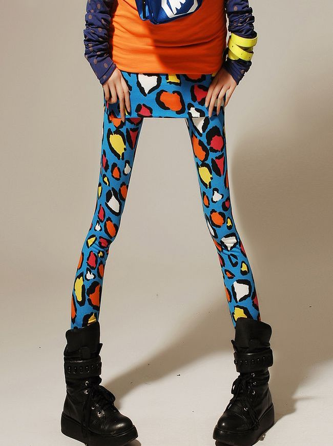 Hot 2014 New Spring Fashion Colorful Leopard Printed Doodle Wholesale Price Skinny Leggings