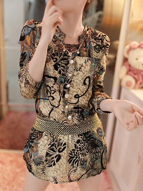 New 2014 Korea Chiffon Printing Stand Collar Three-Quarter Sleeve Dress