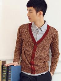 British Vintage Men V Neck Color Block Long Sleeve Fitted Cardigans