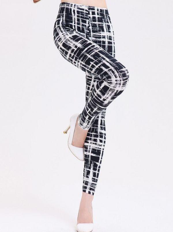 Popular Series Plaid Patterned Color Block Elastic Waist Fashion Trend Styling Skinny Leggings