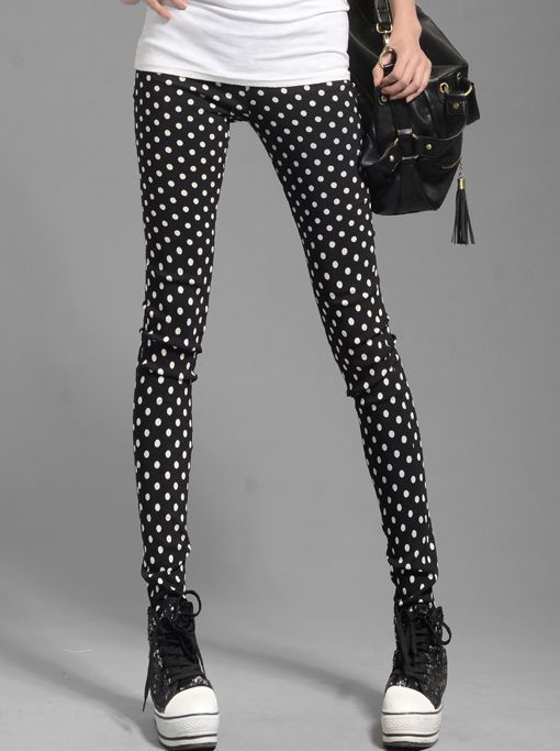 New Arrived Dots Pockets Natural Waist Skinny Fitted Fashion Long Leggings