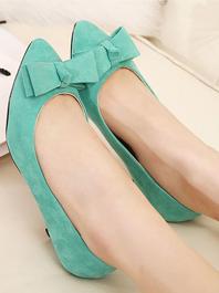 Fashion Latest Popular Genuine Leather Lining Bow Sharp Toe Flats