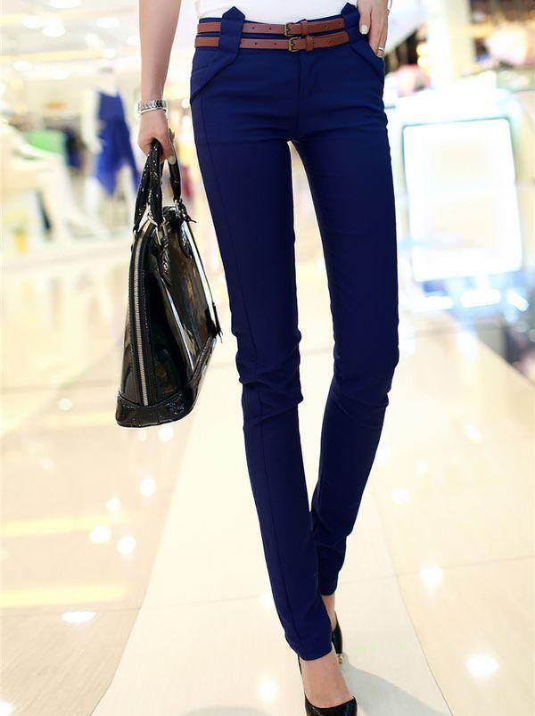 Popular Elegant Solid Color Pockets Natural Waist Skinny Lady Long Pants