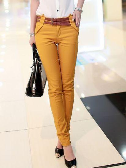 Best Selling Korea Solid Color Pockets Natural Waist Skinny Lady Long Pants