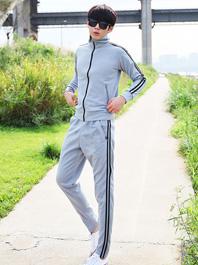 Korea Leisure Men Double Lines Zipper Contrast Color Stand Collar Activewears