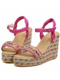 Latest Popular Fashion Sweet Style Colorful Straw Wedge Platform Chunky Sandals