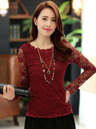 Popular Trendy In Wholesale Lace Hollow Out Round Neck Ruffles Pure Color Women Blouses