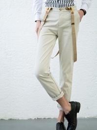 2014 New Arrival Men One Button Pure Color Pockets Long Straps Pants