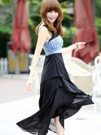 Elegant Style Hollow Out Asymmetrical Hem Layered Round Collar Sleeveless Maxi Dress