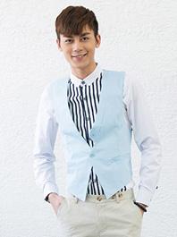 Korea Style Two Buttons Pockets Patchwork V Collar Men Suit Vests