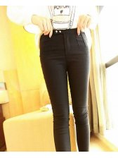 Great Quality Service Buttons Solid Color Pockets Skinny Natural Waist Lady Long Leggings