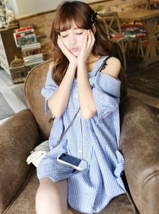 Exquisite Quality Super Great Plaid Boat Neck Straps Buttons Half Sleeve Loose Versions Blouses