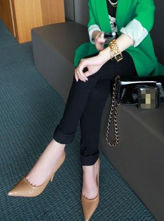 Casual Style 2014 Hot Sell Solid Color High Waist Zip Elasticized  Fitted Long Leggings