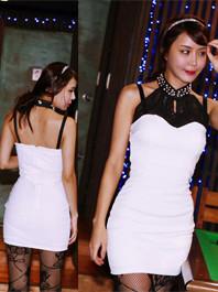 Chic Style Gauze Matching Backless Beading Color Block Sleeveless Halter Wrap Dress