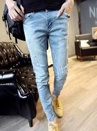 Korean Hot Sale Light Color Hollow Out Pockets Ropes Men Fitted Denim Pants
