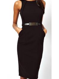 Popular Elegant High Waist Pure Color Round Neck Sleeveless Pencil Dress With Belt