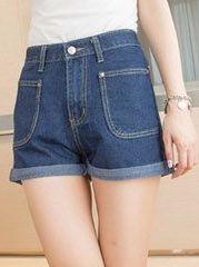 Dark Blue High Waist Denim Shorts First-Class Vintage Great Big Pocket Button Worn Out Turn-up Cuff Hot Pants