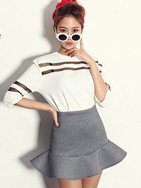 Korean Partysu Gauze Patchwork Three-Quarter Sleeve Ruffles Skirts Two Piece Dress