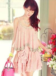 Feminine Feel Lasted Style Diamond Ruffles Flower Design Round Neck Strap Dress