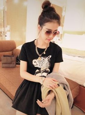 Fashion Trend Styling Zebra Pattern Round Neck Short Sleeve Fitted Casual Girl T-Shirts