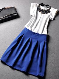 European Style Hot Good Quality Round Neck Sleeveless Ruffles Skirts Two Piece Dress