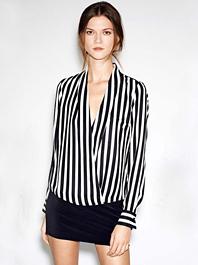 Low Price Good Looking Slim Design Stripe V-Neck Long Sleeve Loose Women Blouses