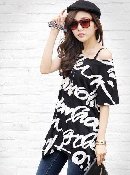 Fine Tailoring O-Neck Long Tees Lowest Price Feminine Fashion Irregular Letter Printed Bat Sleeve Loose Version T-Shirts